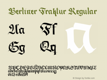 Berliner Fraktur Regular Version 1.030;PS 001.030;hotconv 1.0.70;makeotf.lib2.5.58329 DEVELOPMENT Font Sample