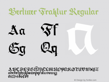 Berliner Fraktur Regular Version 1.030;PS 001.030;hotconv 1.0.70;makeotf.lib2.5.58329 DEVELOPMENT;com.myfonts.easy.resistenza.berliner-fraktur.regular.wfkit2.version.43i4 Font Sample