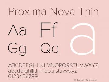 Proxima Nova Thin Version 2.003 Font Sample