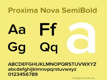 Proxima Nova SemiBold Version 2.003 Font Sample