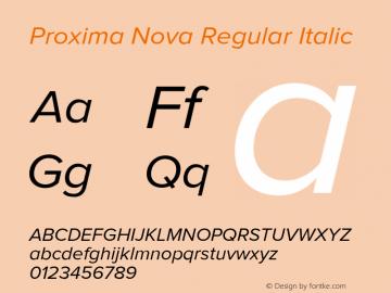 Proxima Nova Regular Italic Version 2.003 Font Sample