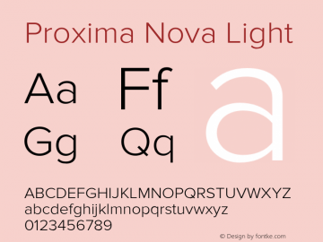 Proxima Nova Light Version 2.003 Font Sample
