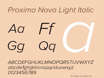 Proxima Nova Light Italic Version 2.003 Font Sample