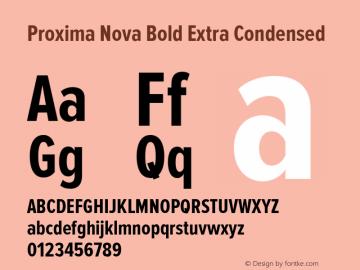 Proxima Nova Bold Extra Condensed Version 2.003 Font Sample