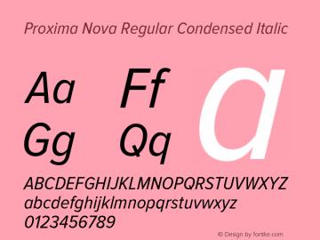 Proxima Nova Regular Condensed Italic Version 2.003 Font Sample