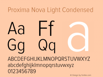 Proxima Nova Light Condensed Version 2.003 Font Sample