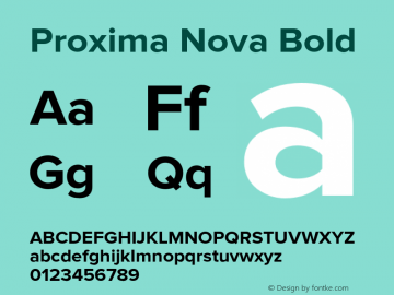Proxima Nova Bold Version 2.003 Font Sample