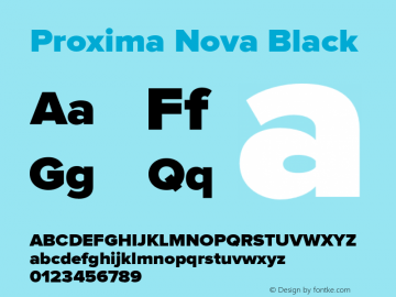 Proxima Nova Black Version 2.003 Font Sample