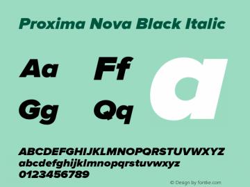 Proxima Nova Black Italic Version 2.003 Font Sample