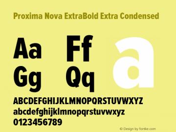 Proxima Nova ExtraBold Extra Condensed Version 2.003 Font Sample