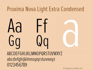 Proxima Nova Light Extra Condensed Version 2.003 Font Sample