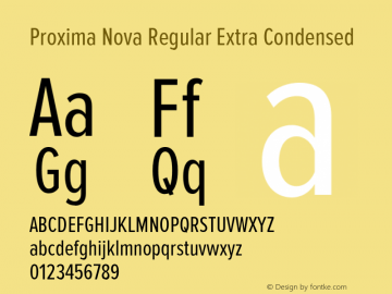 Proxima Nova Regular Extra Condensed Version 2.003 Font Sample