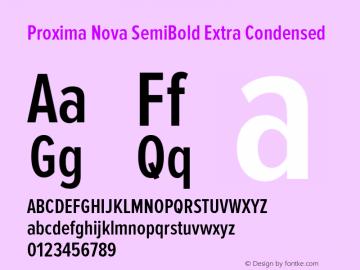 Proxima Nova SemiBold Extra Condensed Version 2.003 Font Sample