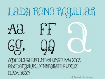Lady Rene Regular Version 1.000 Font Sample