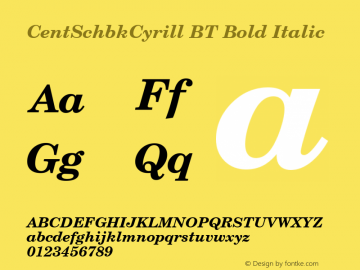 CentSchbkCyrill BT Bold Italic Version 2.00 Bitstream Cyrillic Set Font Sample