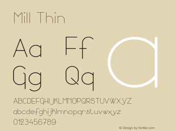 Mill Thin Version 001.000 Font Sample