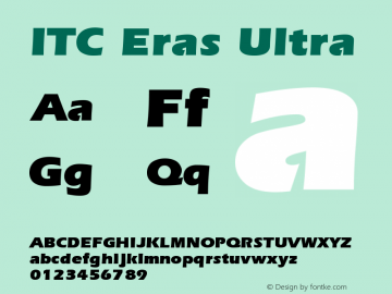 ITC Eras Ultra Version 001.001 Font Sample