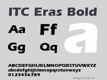 ITC Eras Bold Version 001.001 Font Sample