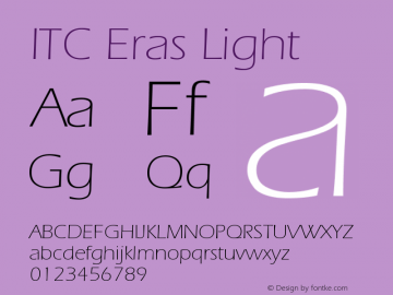 ITC Eras Light Version 001.001 Font Sample
