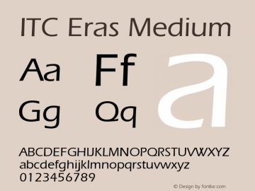ITC Eras Medium Version 001.001 Font Sample