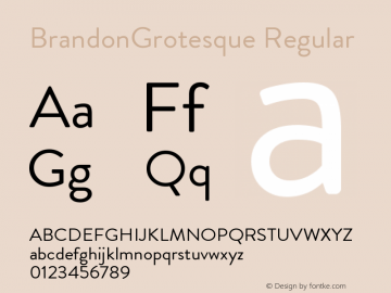 BrandonGrotesque Regular Version 001.000 Font Sample