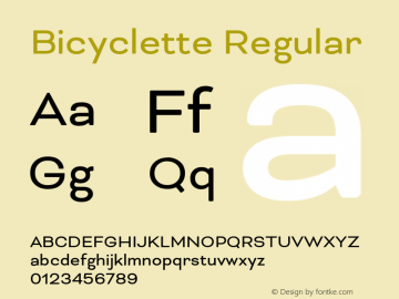 Bicyclette Regular Version 1.000;PS 001.001;hotconv 1.0.56 Font Sample