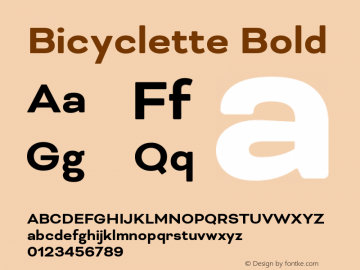 Bicyclette Bold Version 1.000;PS 001.001;hotconv 1.0.56 Font Sample