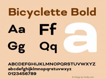 Bicyclette Bold Version 1.000;PS 001.001;hotconv 1.0.56 Font Sample