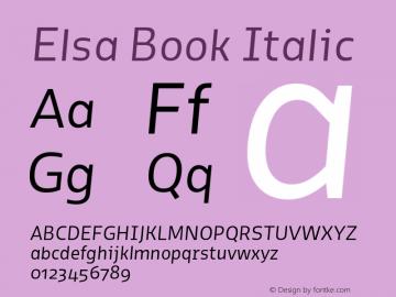 Elsa Book Italic Version 1.000; Font Sample