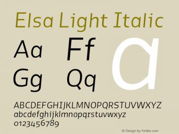 Elsa Light Italic Version 1.000; Font Sample