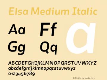 Elsa Medium Italic Version 1.000; Font Sample