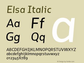 Elsa Italic Version 1.000; Font Sample