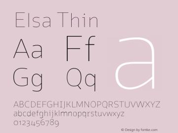 Elsa Thin Version 1.000; Font Sample