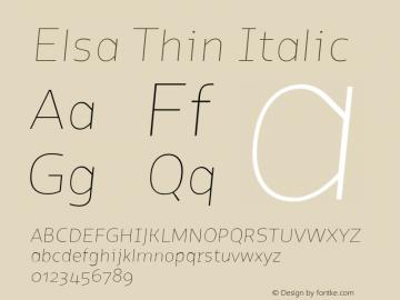Elsa Thin Italic Version 1.000; Font Sample
