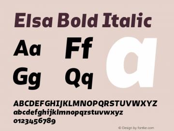 Elsa Bold Italic Version 1.000; Font Sample