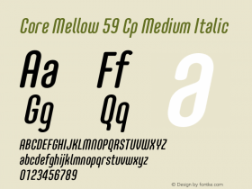 Core Mellow 59 Cp Medium Italic Version 1.000 Font Sample