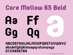Core Mellow 65 Bold Version 1.000 Font Sample