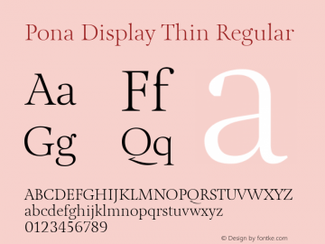 Pona Display Thin Regular Version 1.000 Font Sample