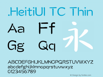 .HeitiUI TC Thin 10.0d4e2 Font Sample