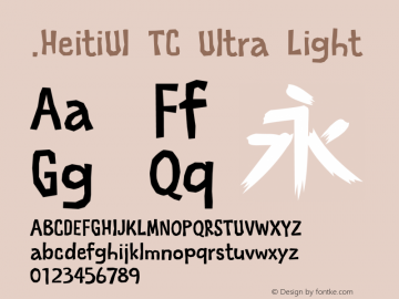 .HeitiUI TC Ultra Light 10.0d4e2 Font Sample