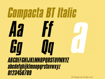Compacta BT Italic mfgpctt-v1.52 Wednesday, January 27, 1993 10:38:54 am (EST) Font Sample