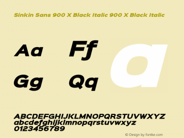 Sinkin Sans 900 X Black Italic 900 X Black Italic Sinkin Sans (version 1.0)  by Keith Bates   •   © 2014   www.k-type.com Font Sample