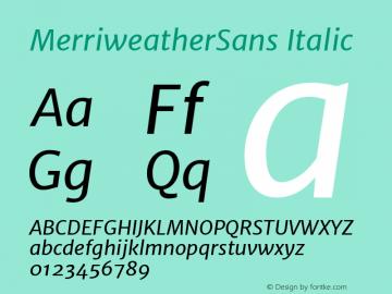 MerriweatherSans Italic Version 1.000; ttfautohint (v0.97) -l 13 -r 13 -G 0 -x 14 -f dflt -w