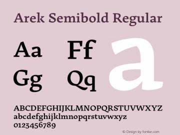 Arek Semibold Regular Version 1.200;PS 001.200;hotconv 1.0.70;makeotf.lib2.5.58329图片样张