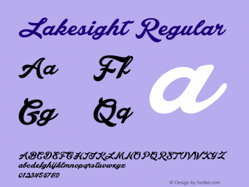 Lakesight Regular Version 1.000 Font Sample