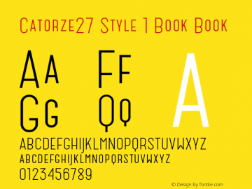 Catorze27 Style 1 Book Book Version 1.001; Fonts for Free; vk.com/fontsforfree Font Sample