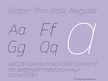 Glober Thin Italic Regular Version 1.000图片样张