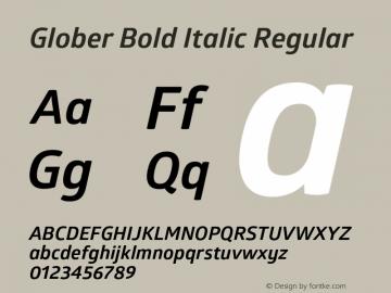 Glober Bold Italic Regular Version 1.000图片样张