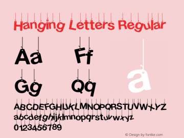 Hanging Letters Regular Version 1.00 February 17, 2014, initial release图片样张