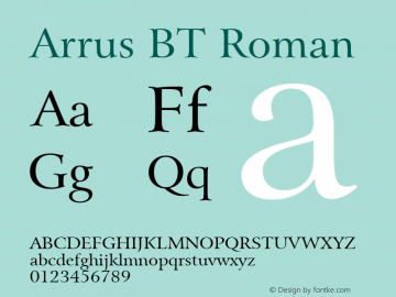 Arrus BT Roman mfgpctt-v4.4 Jan 4 1999 Font Sample